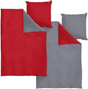 Bettwäsche mit Reißverschluss aus Bio Baumwolle 135x200 cm Perkal mit Grau//Weiß